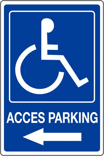 Panneau mural Handicapés - Flèche à gauche - Accès parking