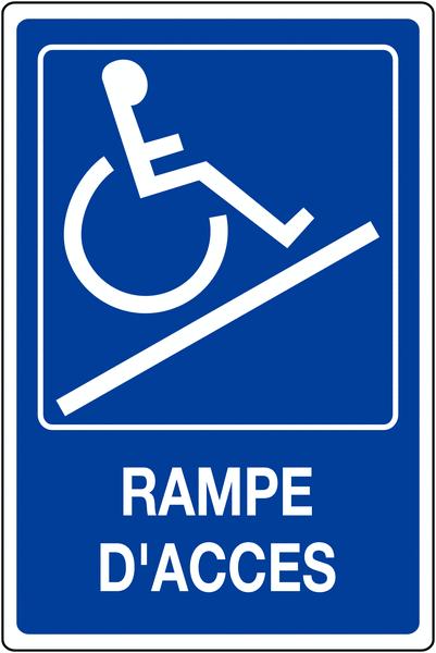 Panneau mural Rampe d'accessibilité handicapés avec texte Rampe d'accès