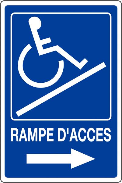 Panneau mural Rampe d'accessibilité handicapés - Flèche à droite avec texte Rampe d'accès