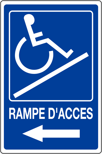 Panneau mural Rampe d'accessibilité handicapés - Flèche à gauche avec texte Rampe d'accès