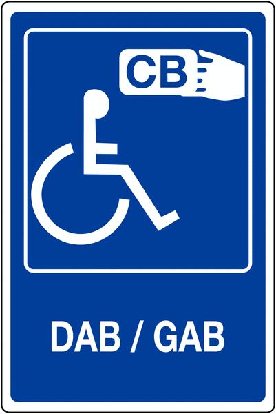 Panneau mural Distributeur automatique accessible handicapés - DAB/GAB