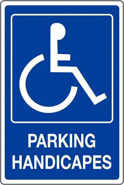 Panneau mural Handicapés avec texte Parking handicapés
