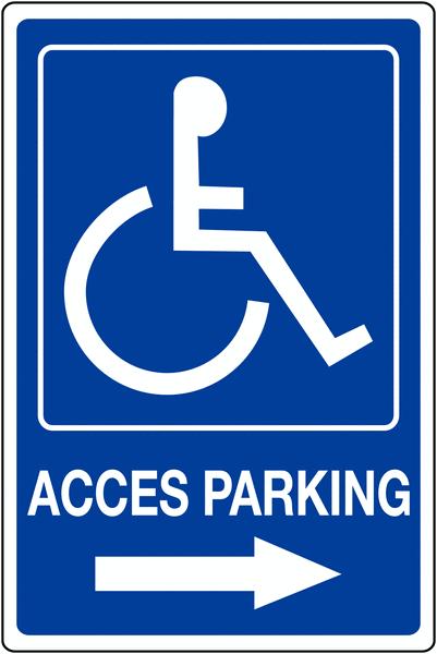 Panneau mural Handicapés - Flèche à droite - Accès parking