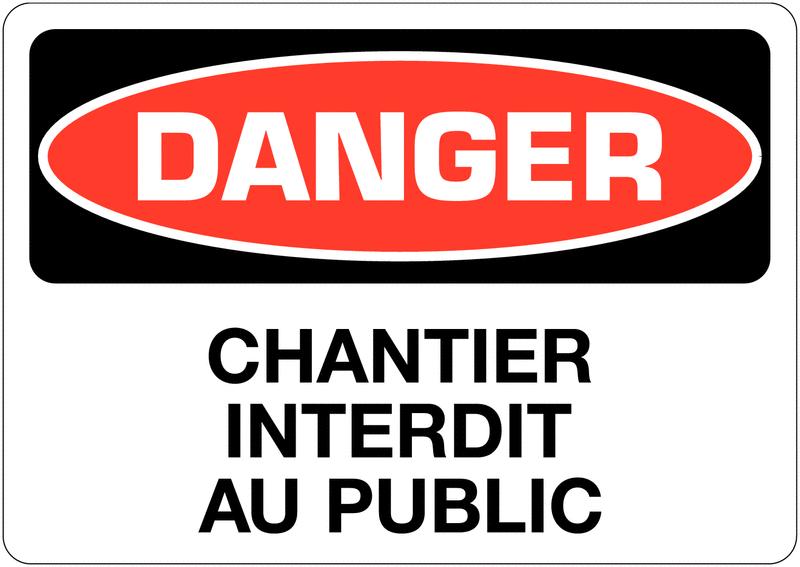 Signalisation d'avertissement Danger - Chantier interdit au public