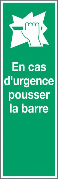 Panneau PVC adhésif - En cas d'urgence pousser la barre