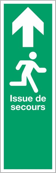 Panneau PVC adhésif Issue de secours - Homme qui court, flèche en haut
