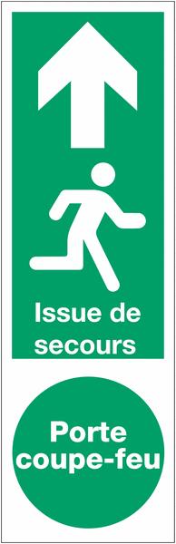 Panneau PVC adhésif Issue de secours Porte coupe-feu - Homme qui court, flèche en haut