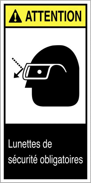 Etiquettes ANSI Z535 Attention - Lunettes de protection obligatoires