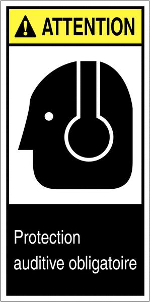 Etiquettes ANSI Z535 Attention - Serre-tête antibruit obligatoire