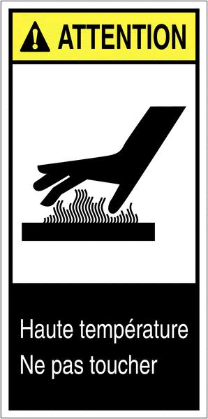 Etiquettes ANSI Z535 Attention - Risque de brûlure, ne pas toucher
