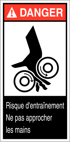 Etiquettes ANSI Z535  Danger - Risque d'écrasement, rouleaux lisses
