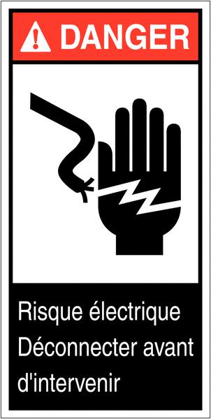 Etiquettes ANSI Z535  Danger - Risque d'électrocution pour la main