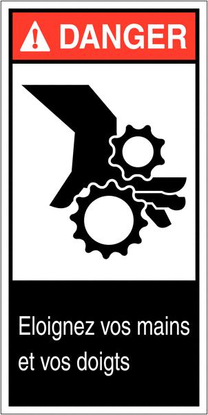 Etiquettes ANSI Z535  Danger - Risque d'écrasement, rouleaux crantés