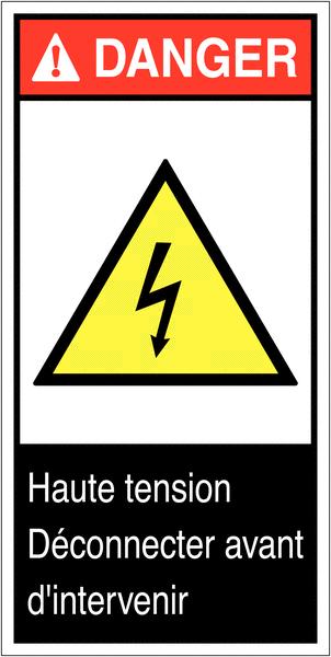 Etiquettes ANSI Z535  Danger électricité