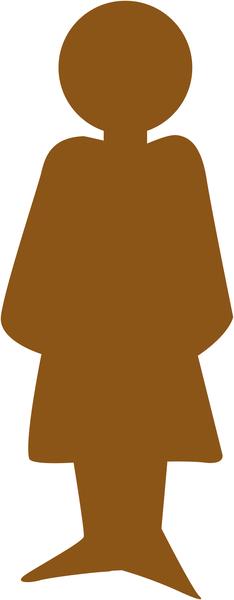 Plaque de porte en bois symbole Toilettes femme