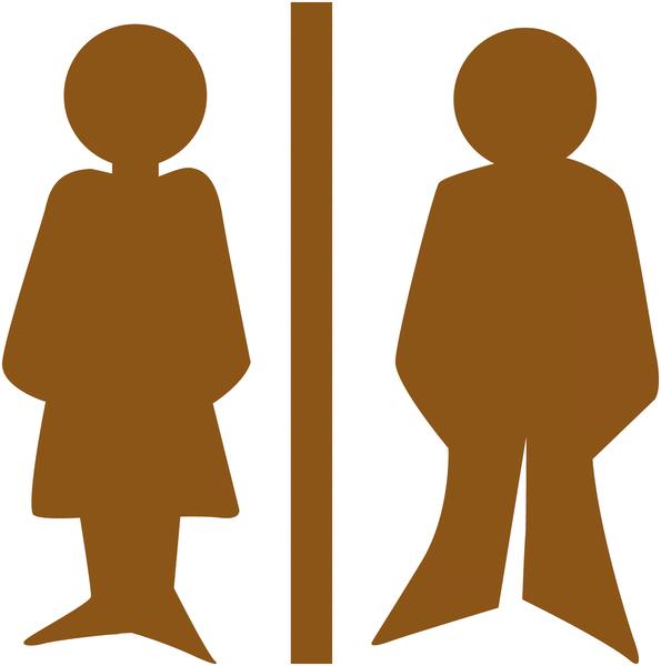 Plaque de porte en bois symbole Toilettes homme et femme