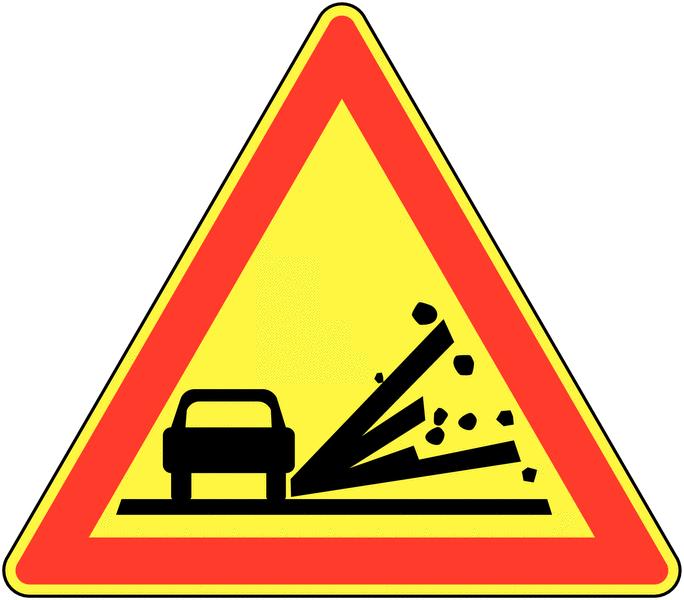 Panneau de signalisation temporaire en aluminium Projection de gravillons