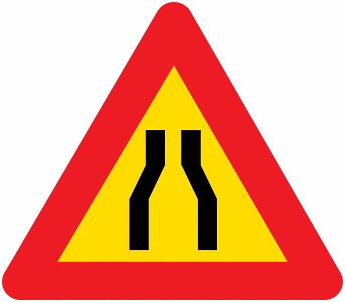 Panneau de signalisation temporaire en aluminium Chaussée rétrécie