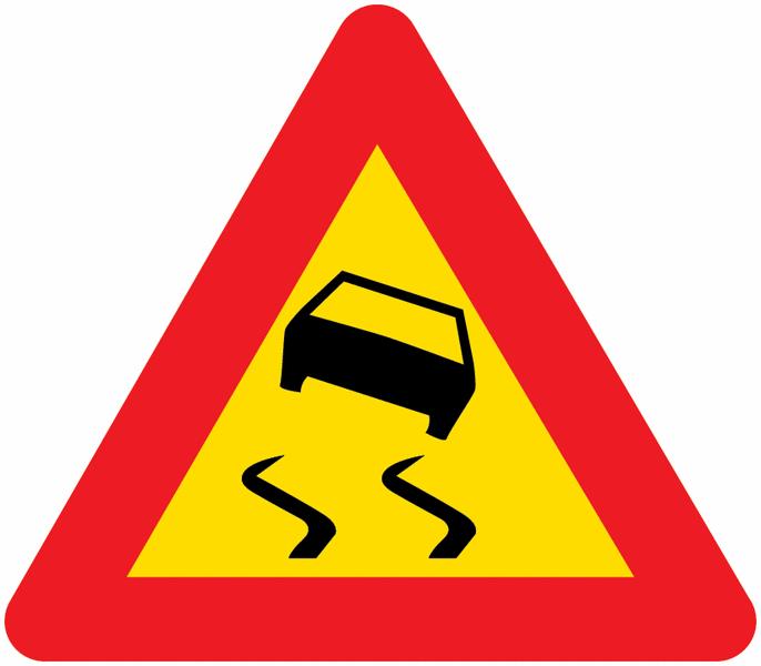 Panneau de signalisation temporaire en aluminium Chaussée glissante