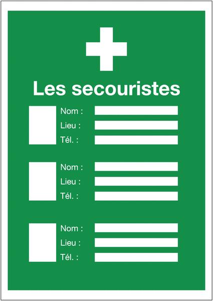 Affichage obligatoire Premiers secours - Les secouristes avec photo