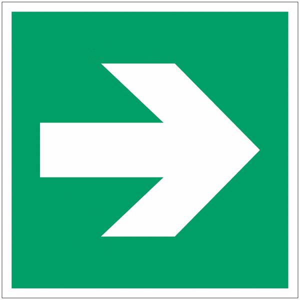 Panneau d'évacuation en polycarbonate Flèche directionnelle 90°