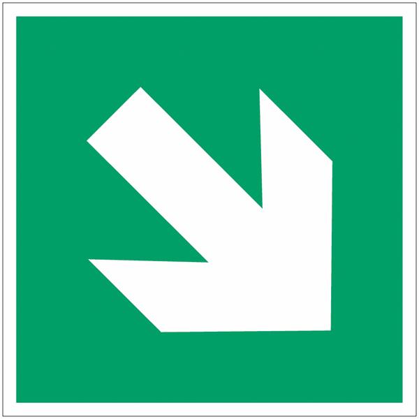 Panneau d'évacuation en polycarbonate Flèche directionnelle 45°