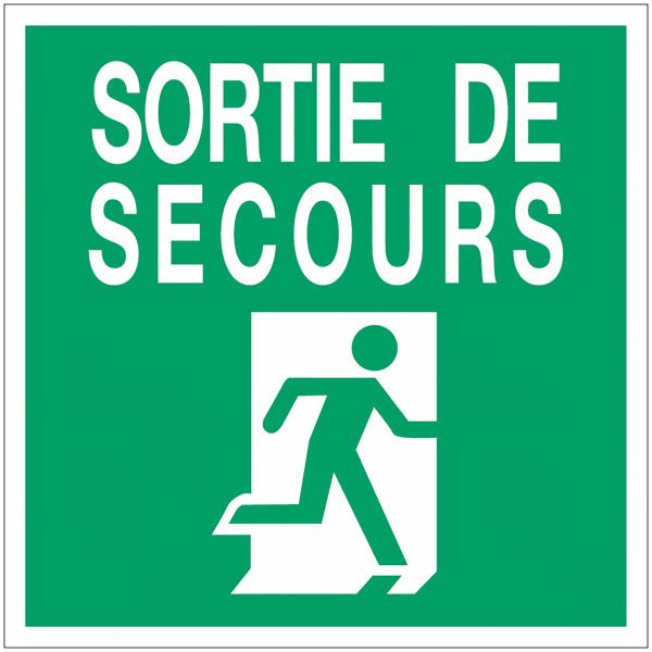 Panneau d'évacuation en polycarbonate - Sortie de secours (à droite)