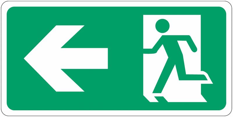 Signalisation d'évacuation prestige Homme qui court, flèche à gauche
