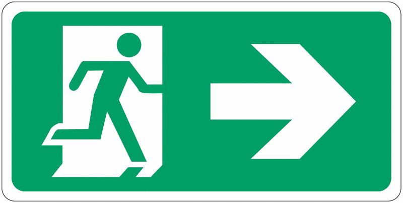 Signalisation d'évacuation prestige Homme qui court, flèche à droite