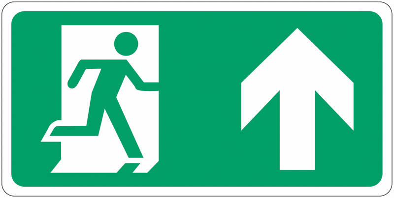 Signalisation d'évacuation prestige Homme qui court, flèche en haut