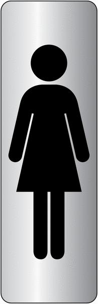 Signalétique adhésive en vinyle argenté Toilettes femme