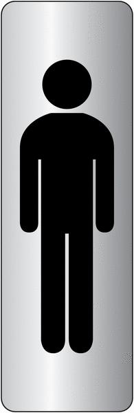 Signalétique adhésive en vinyle argenté Toilettes homme