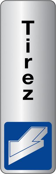 Signalétique adhésive en vinyle argenté Tirer pour ouvrir avec texte Tirez