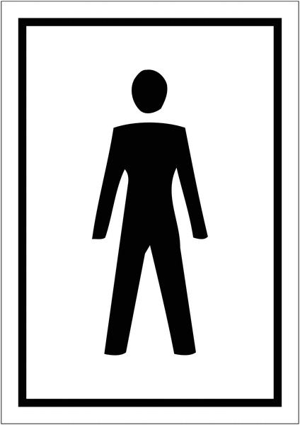 Signalétique avec profil aluminium Toilettes homme