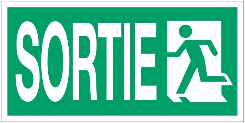 Panneau d'évacuation suspendu grand format Sortie de secours (à gauche) avec texte Sortie