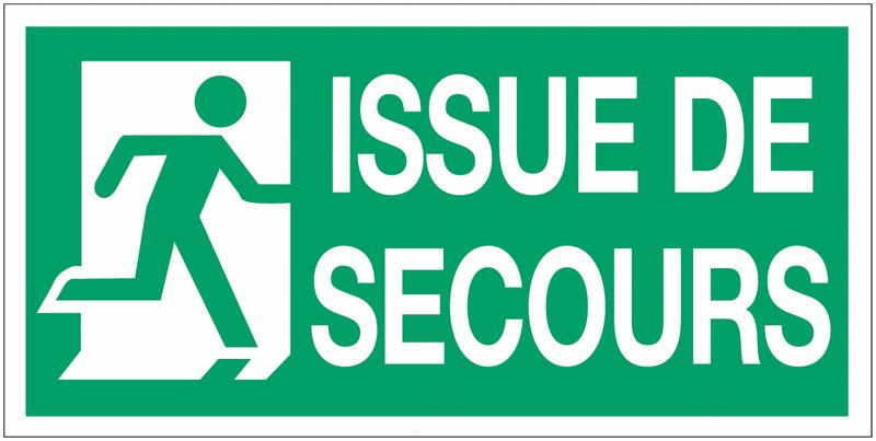 Panneau d'évacuation suspendu Sortie de secours (à gauche et à droite) avec texte Issue de secours