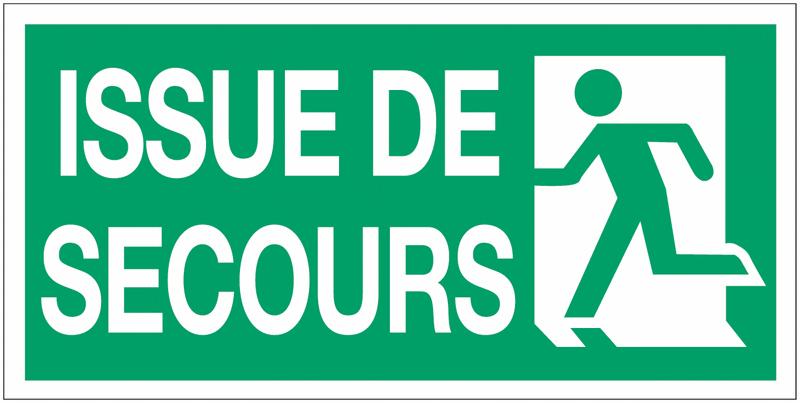 Panneau d'évacuation suspendu Sortie de secours (à gauche et à droite) avec texte Issue de secours - Seton
