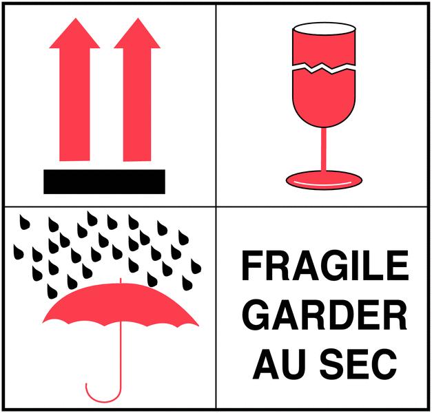 Etiquettes d'expédition multisymboles - Fragile garder au sec