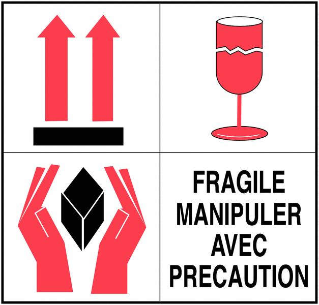 Etiquettes d'expédition multisymboles - Fragile manipuler avec précaution