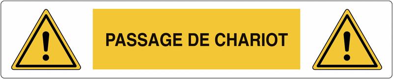 Marquage au sol adhésif Danger général - Passage de chariot