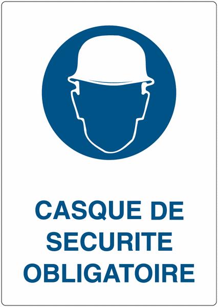 Marquage au sol adhésif Casque de sécurité obligatoire