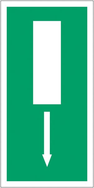 Marquage au sol d'évacuation Issue de secours, flèche directionnelle en bas ou en haut