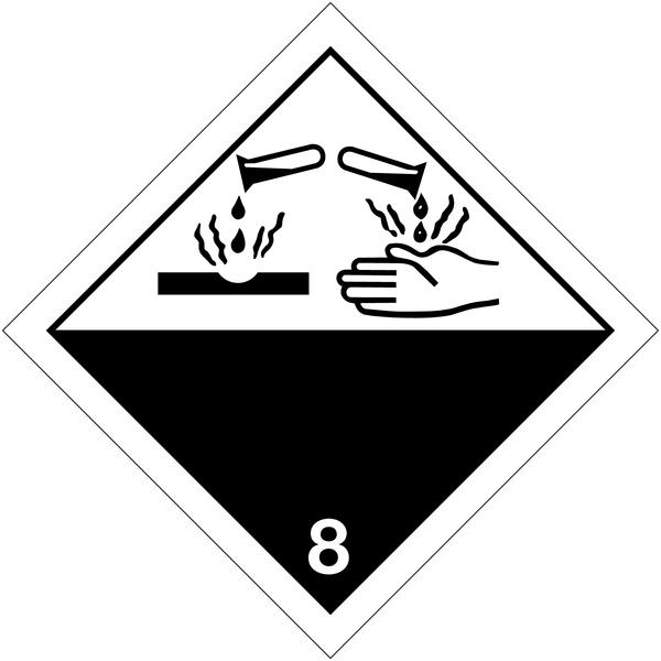 Etiquettes de transport international Matières corrosives à compléter