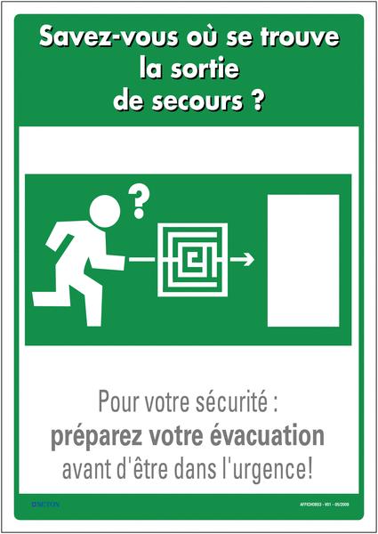 Affichage obligatoire sur l'emplacement des issues de secours