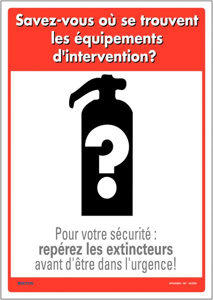 Affichage obligatoire sur l'emplacement des équipements d'intervention