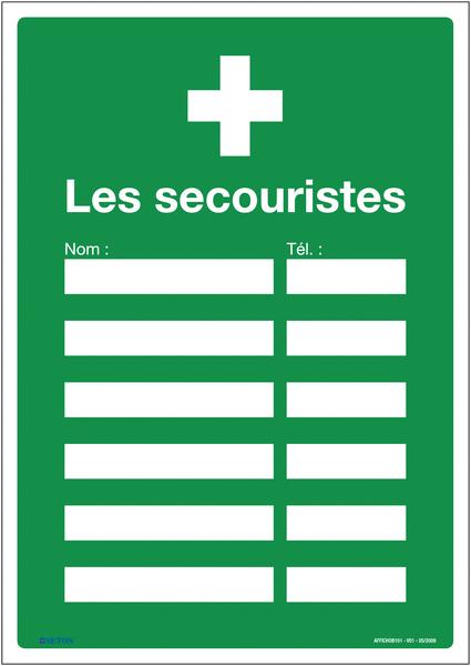 Affiche Premiers secours - Les secouristes à compléter