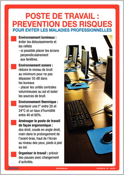 Affiche sur la prévention des risques au travail