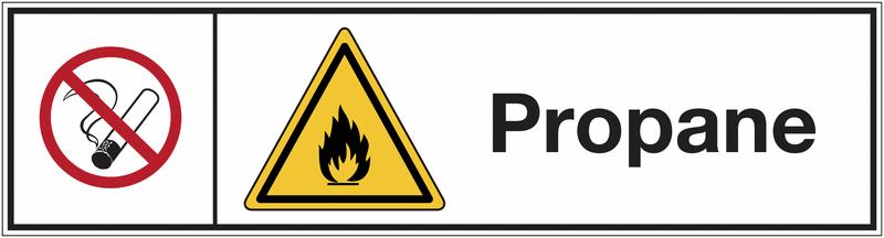 Signalisation des produits dangereux Interdiction de fumer - Danger matières inflammables - Propane