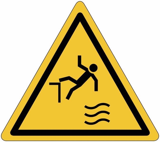 Panneau de danger Attention chute dans l'eau