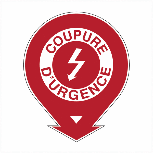 Etiquette de signalisation pour extincteurs Danger électricité - Coupure d'urgence